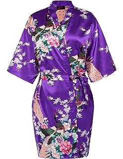 Zexxxy Bata Mujer Sexy Elegante Corto Kimono Camisón De Satén con Estampado Floral