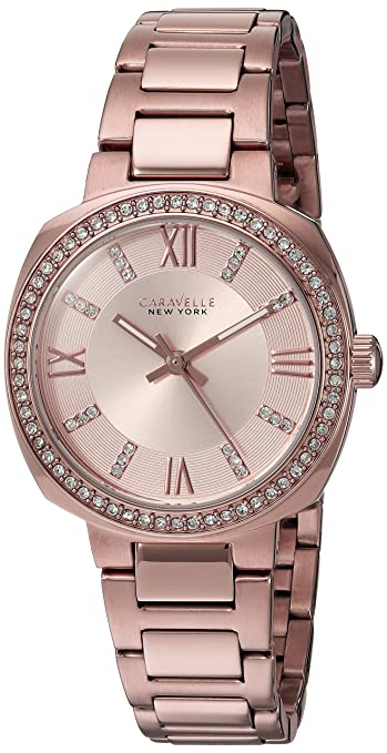 Amazon.com: Caravelle New York Womens 44L224 Swarovski Crystal Rose Gold Tone Watch: Watches