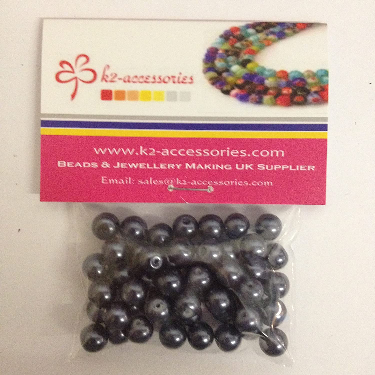 A1007 Dark Grey 100 pieces 8mm Glass Pearl Beads