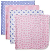 Gerber Baby Girls 4 Pack Flannel Receiving Blanket, Leopard, 30x30
