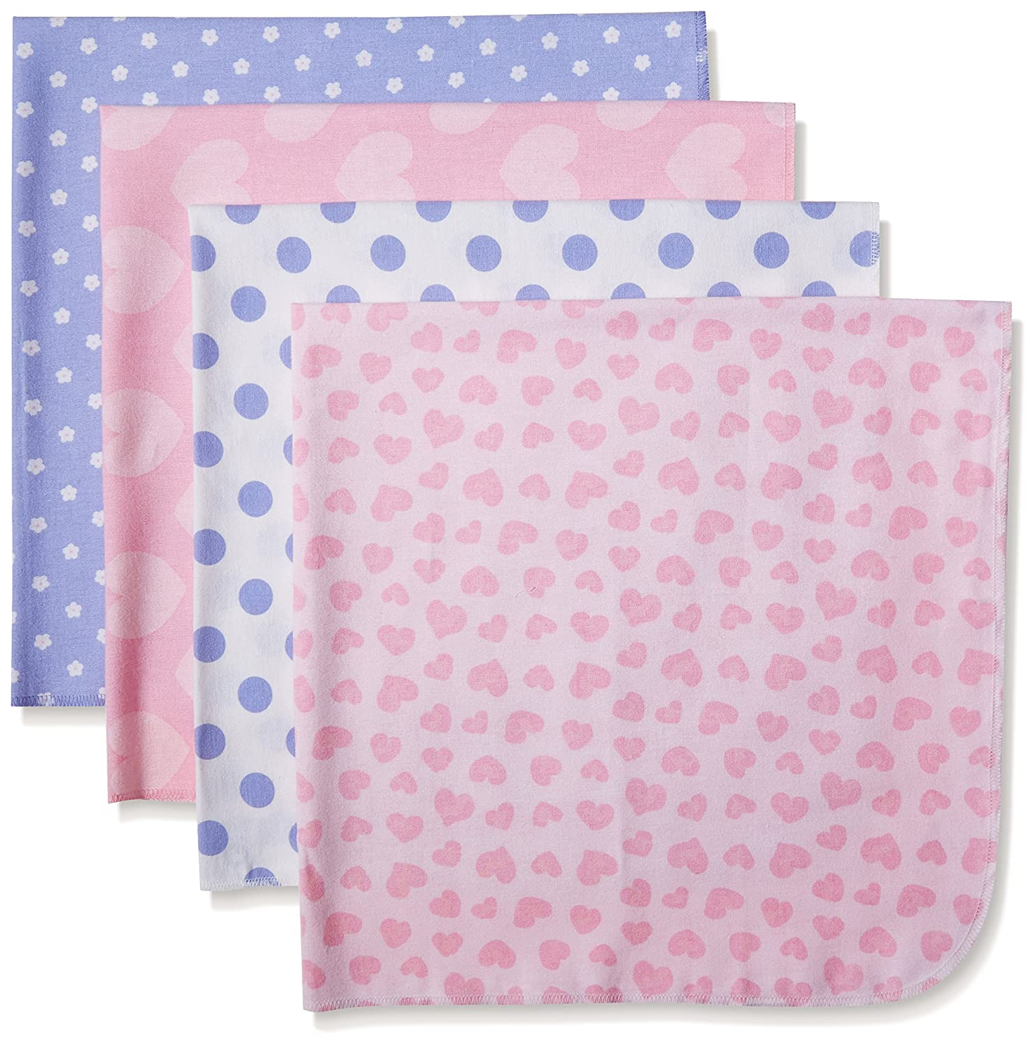 Gerber baby-girls Baby 4 Pack Flannel Receiving Blankets Flowers One Size (Pack of 4) Gerber Children's Apparel 85015416AG16OSZ