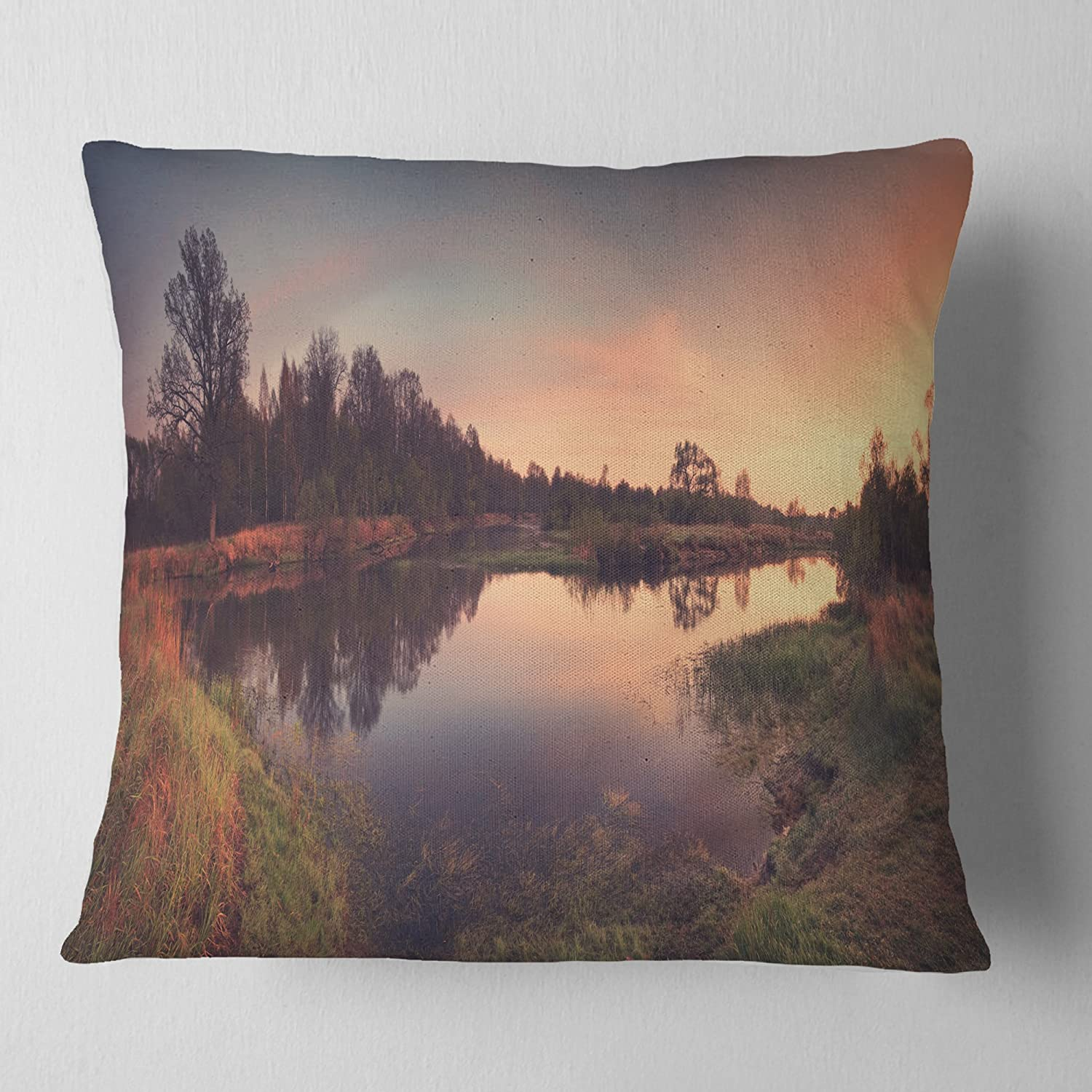 Designart CU11678-16-16 Yellow Tinged Spring Mountains Landscape Printed Throw Cushion Pillow Cover for Living Room 16 in x 16 in Cushion Cover Printed on Both Side Pillow Insert Sofa