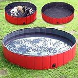 Regalo 10% Oferta de Navidad FEMOR Bañera Plegable de Mascotas Baño Portátil para Animales Piscina para Perros y Gatos Adecuado para Interior Exterior al Aire Libre Color Rojo (L/160 x 30cm)
