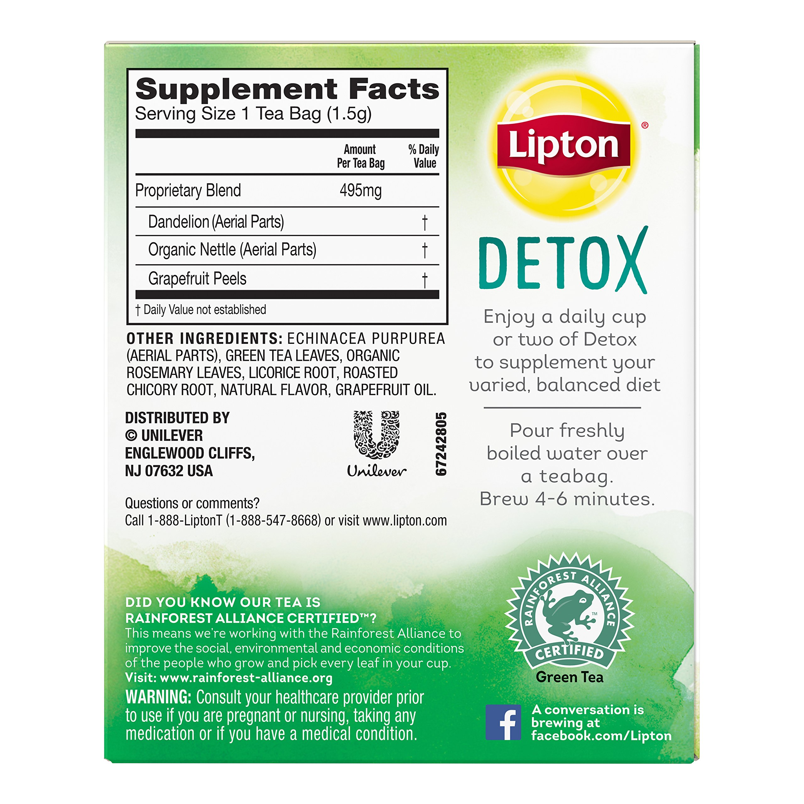 Lipton Herbal Supplement with Green Tea, Detox 15 ct, Pack of 4 by Lipton (Image #6)