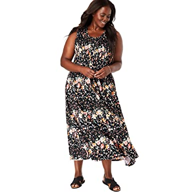 d07c81ed35f Woman Within Women s Plus Size Pintucked Floral Sleeveless Dress - Black  Fresh Floral
