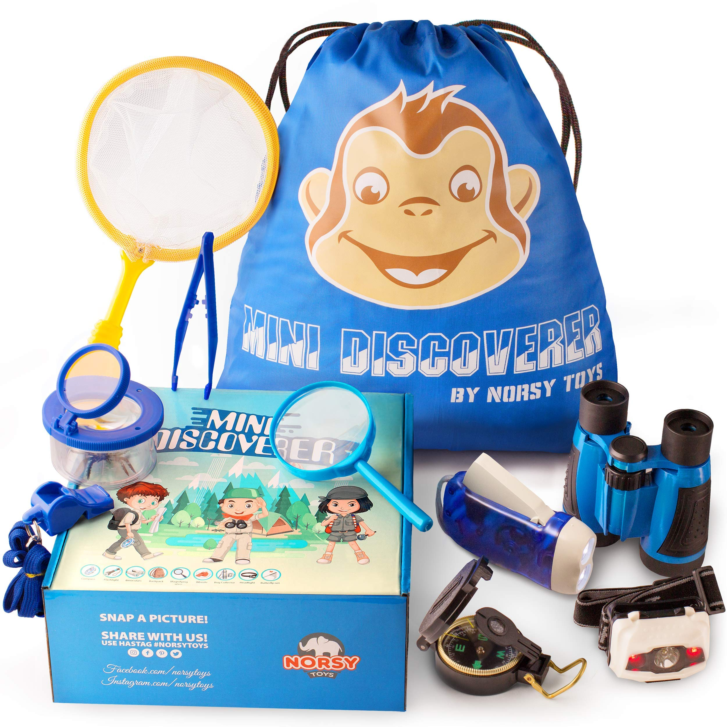Norsy Toys - Kids Camping Gear - Explorer Kit | Outdoor Exploration Set for Boys & Girls Age 3-12 year old - Nature Exploring for Adventure kid - Perfect Gifts for Kid's Birthday, Christmas & Hiking