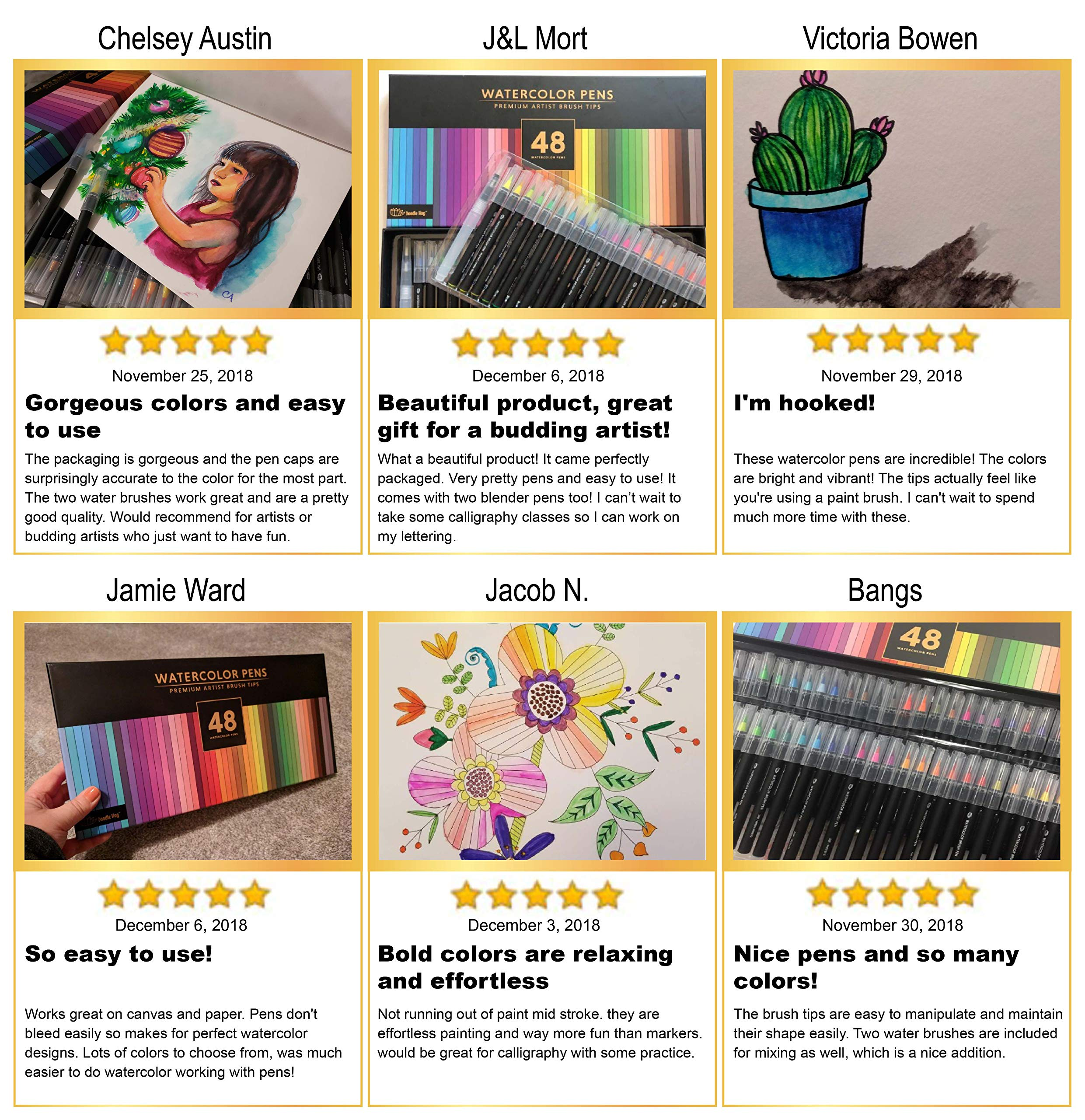 Gift Box, 48 Premium Watercolor Brush Pens, Highly Blend-Able, No Streaks, Water Color Markers, Unbelievable Value, Water Brush Pens For Beginner To Professional Artist by Dab and Dot Markers (Image #6)