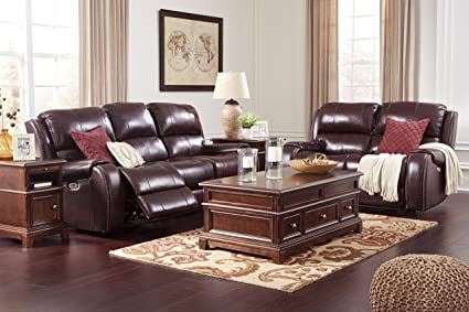 Gilmanton Contemporary Burgundy Color Leather Power Reclining Sofa And  Loveseat With Adjust Headrest