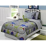 All American Collection 3 Piece Twin Size Dinosaur Comforter Set with Furry Friend, Matching Sheet Set and Curtain Set Available (3 PC COMFORTER SET ONLY)