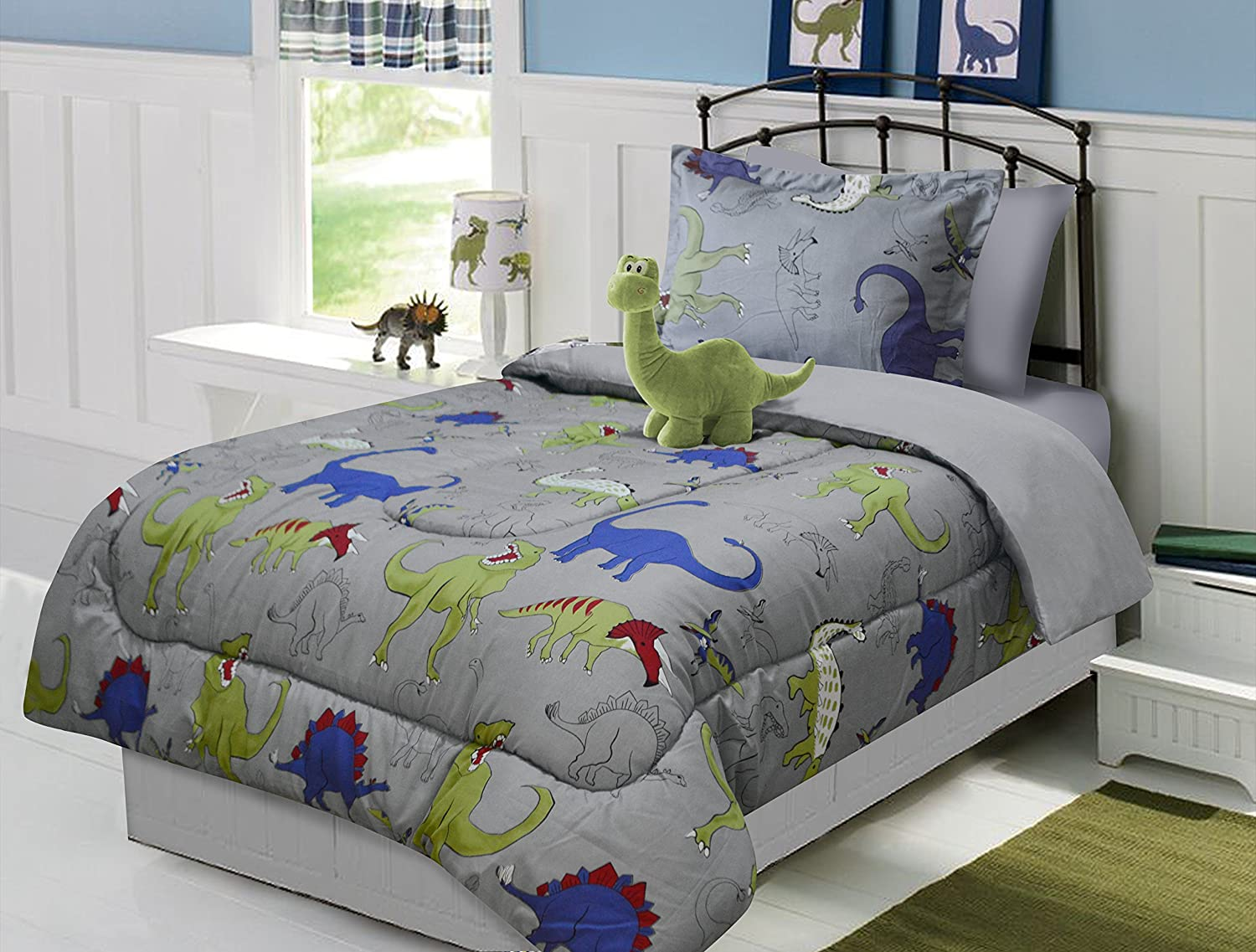 3 Piece Twin Size Dinosaur Comforter Set with Furry Friend