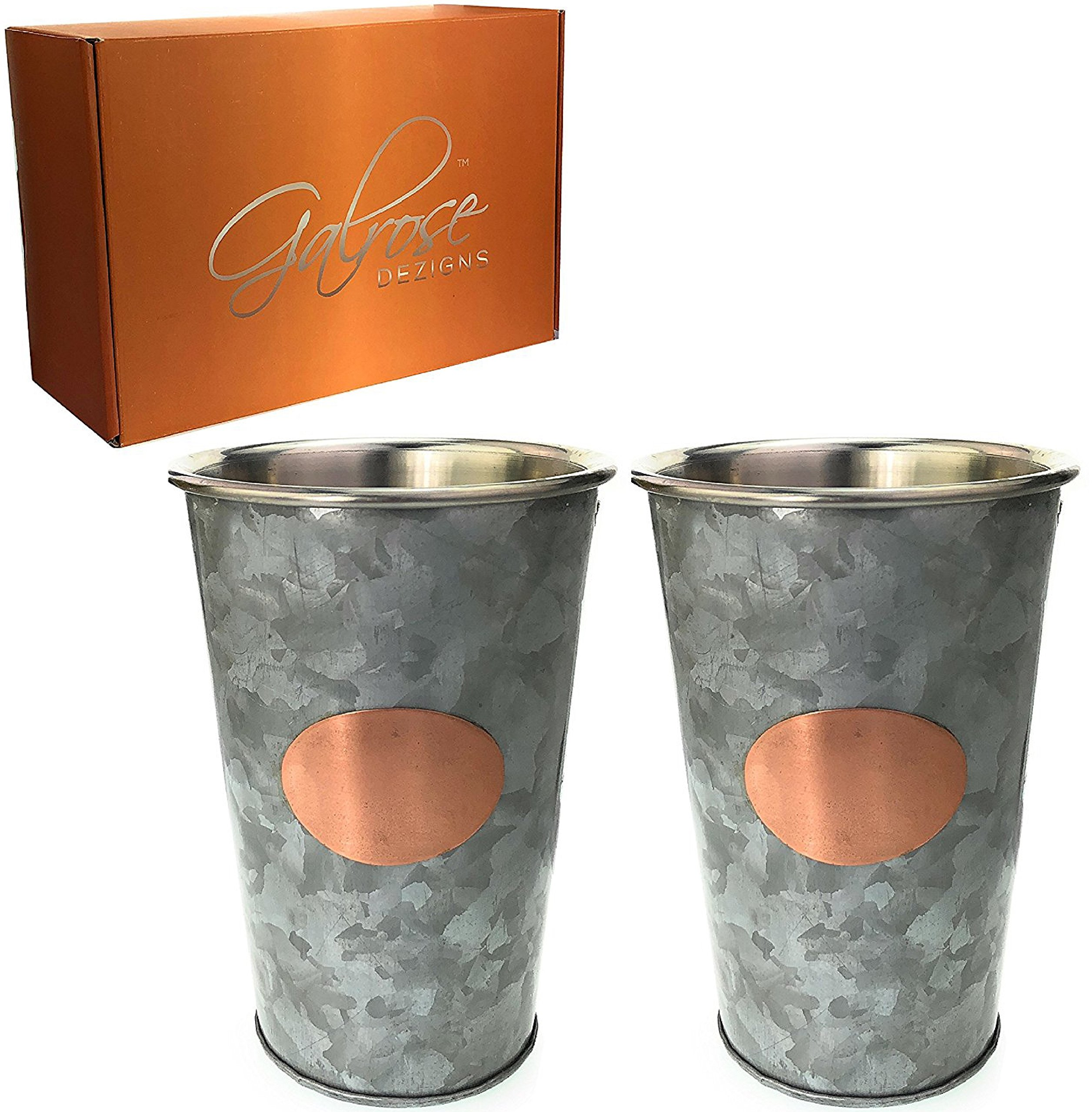 Galrose Unique MINT JULEP CUPS - 2 Galvanized Iron 16oz BEER DRINKING GLASSES Stylish MOSCOW MULE MUGS Stainless Steel Lined Double Wall Rose Gold Plaque - 6th Wedding Anniversary Gifts for Couple by Galrose Dezigns