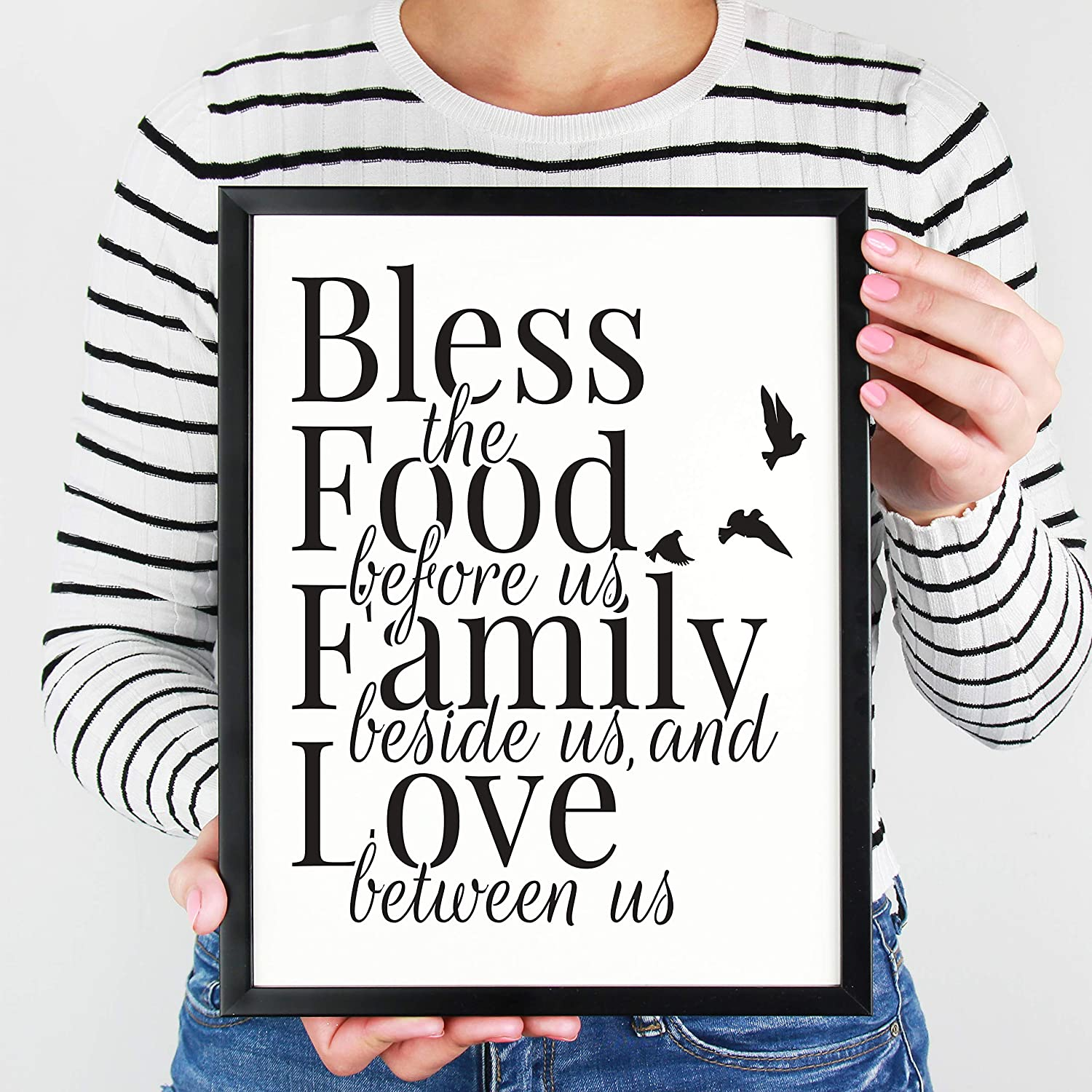 Bless The Food Before Us - Dining Room, Kitchen Decor Wall Art Print - FRAMED in BLACK - 8x10