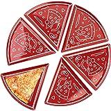 La & Li Premium Pizza Plate Set: 6 Unique Large Colorful Triangle Pizza Pie Plates Form 18 Inch Round Dish Platter…