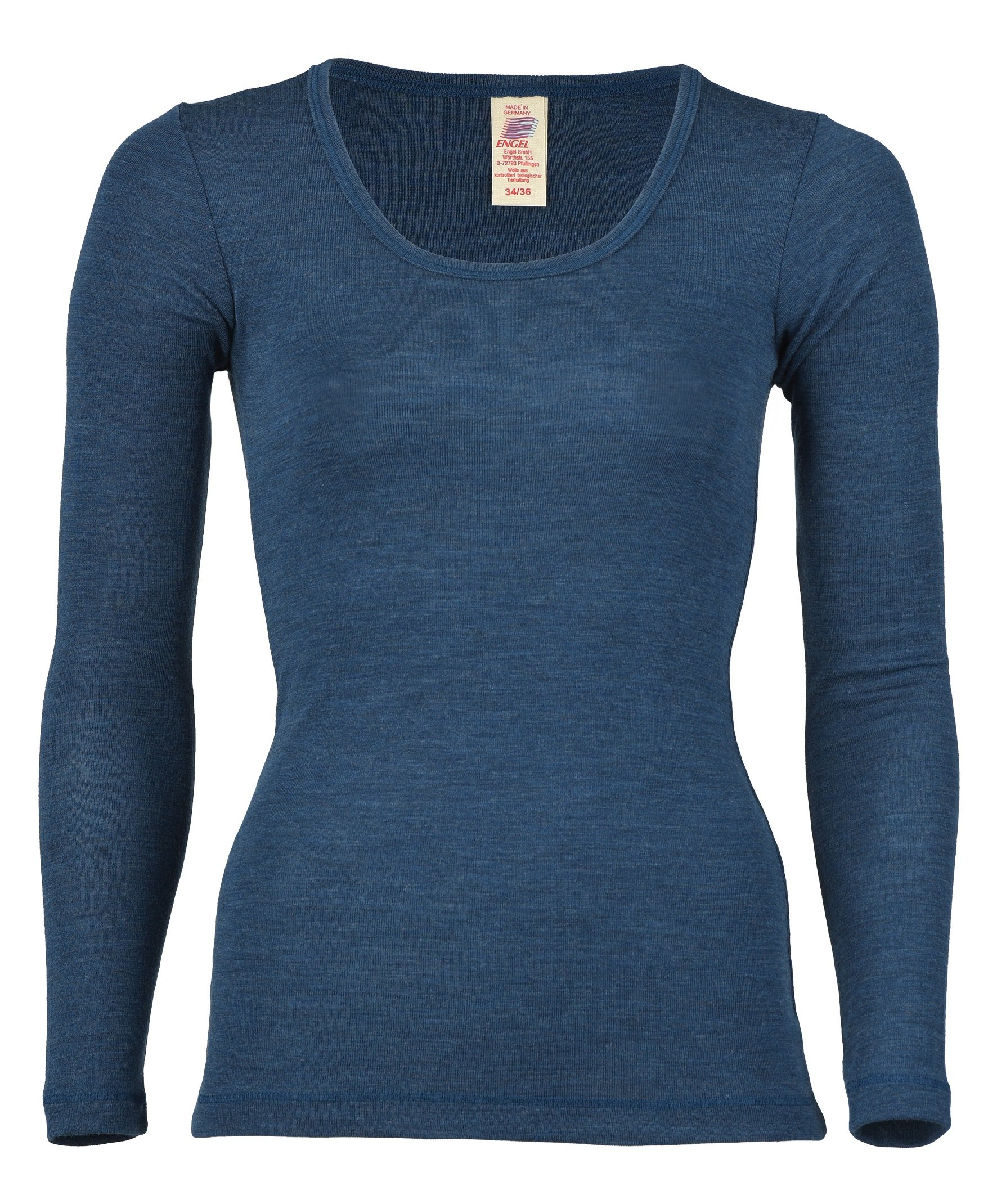 Engel 100% Merino Wool Women's T-Shirt Long Sleeved. Made in Germany. (EU 46/48 (XL), Sapphire) by Engel
