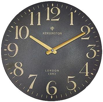 2e30d02de746f4 NIKKY HOME Horloge Murale Ronde Silencieux Quartz Romain Cadran Analogique  Européenne Rétro Style Vintage Main Bois