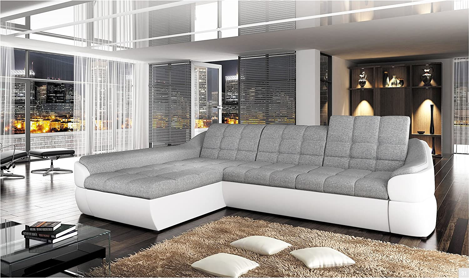 INFINITY MINI - FAUX LEATHER / FABRIC CORNER SOFA BED MODERN CURVY ...