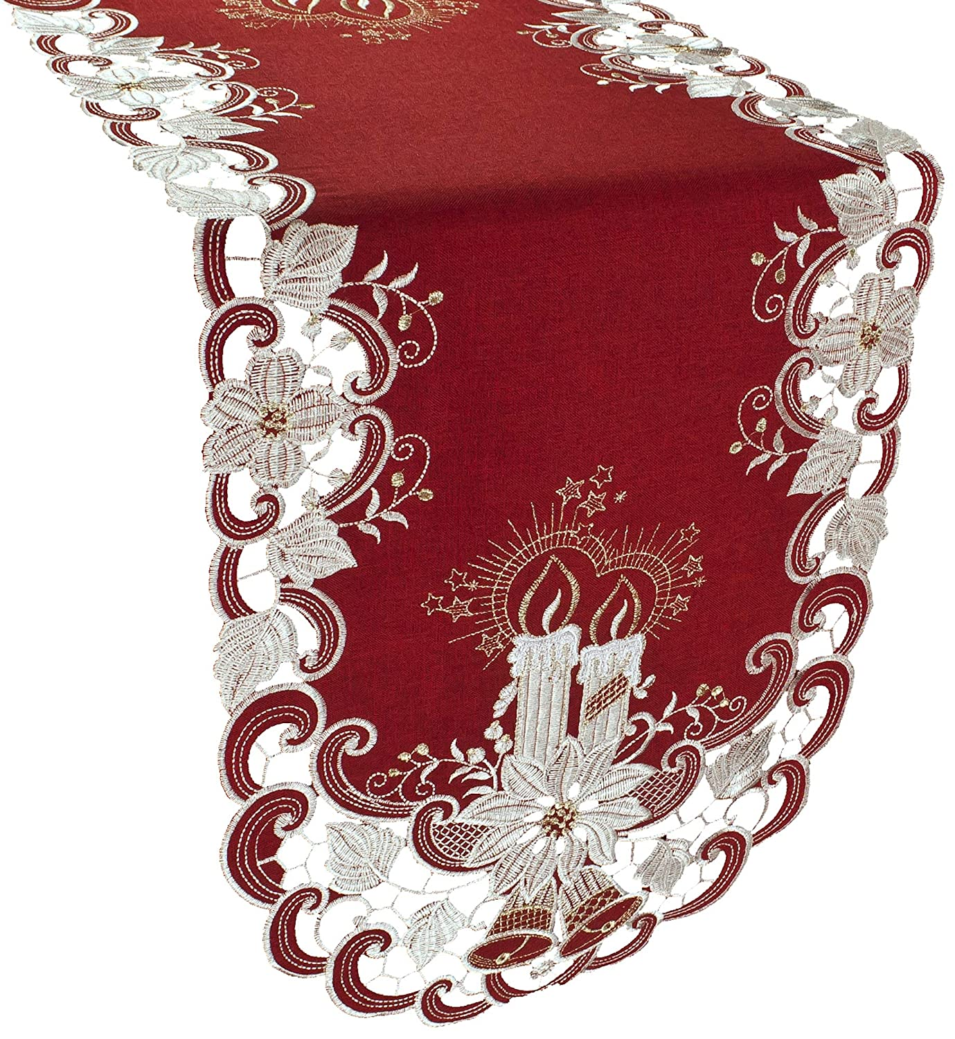 Linens, Art and Things Christmas Candles Bells and Poinsettia Embroidered Red Table Runner Dresser Scarf 16