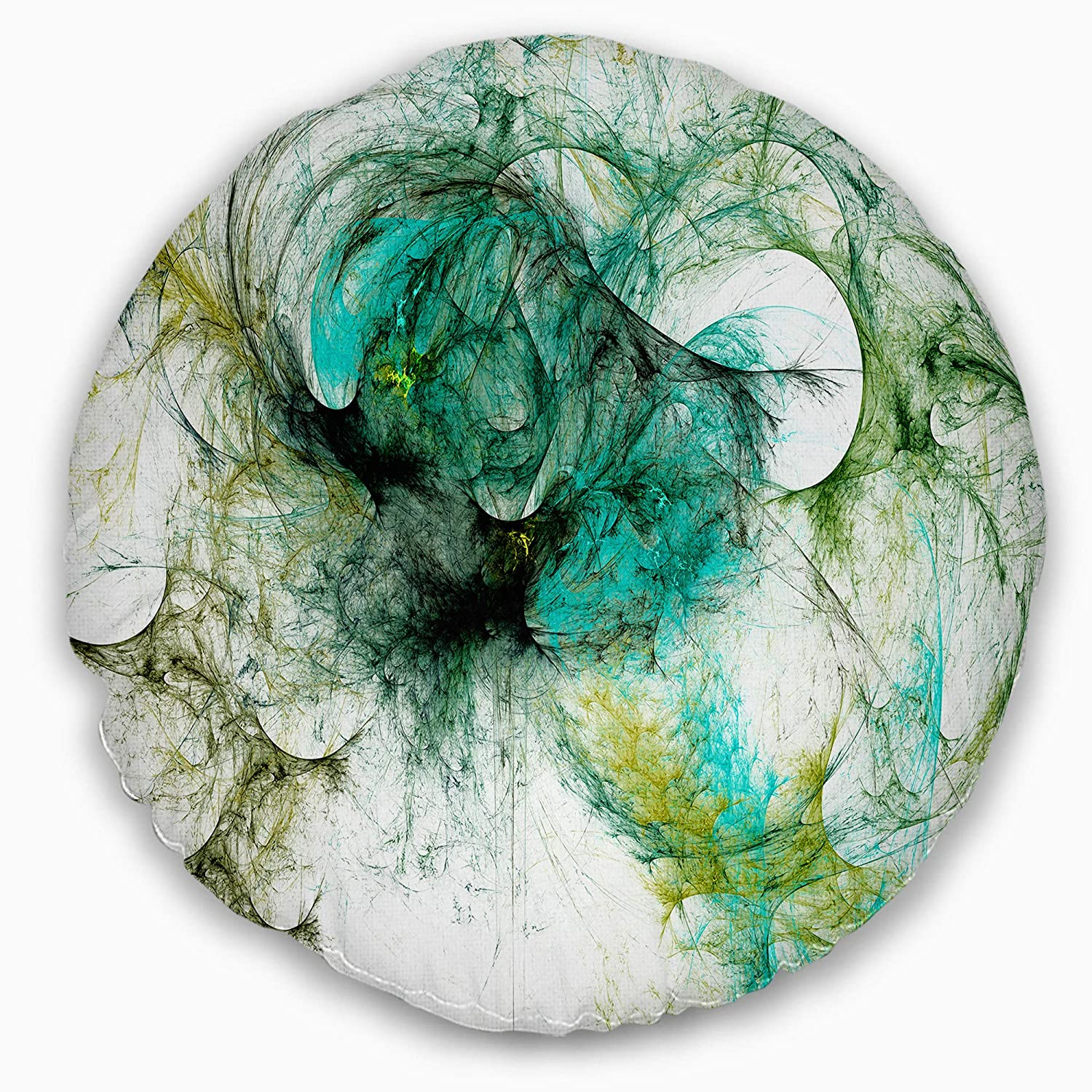 Insert Printed On Both Side Sofa Throw Pillow 20 Designart CU8024-20-20-C Wings of Angels Green Abstract Round Cushion Cover for Living Room