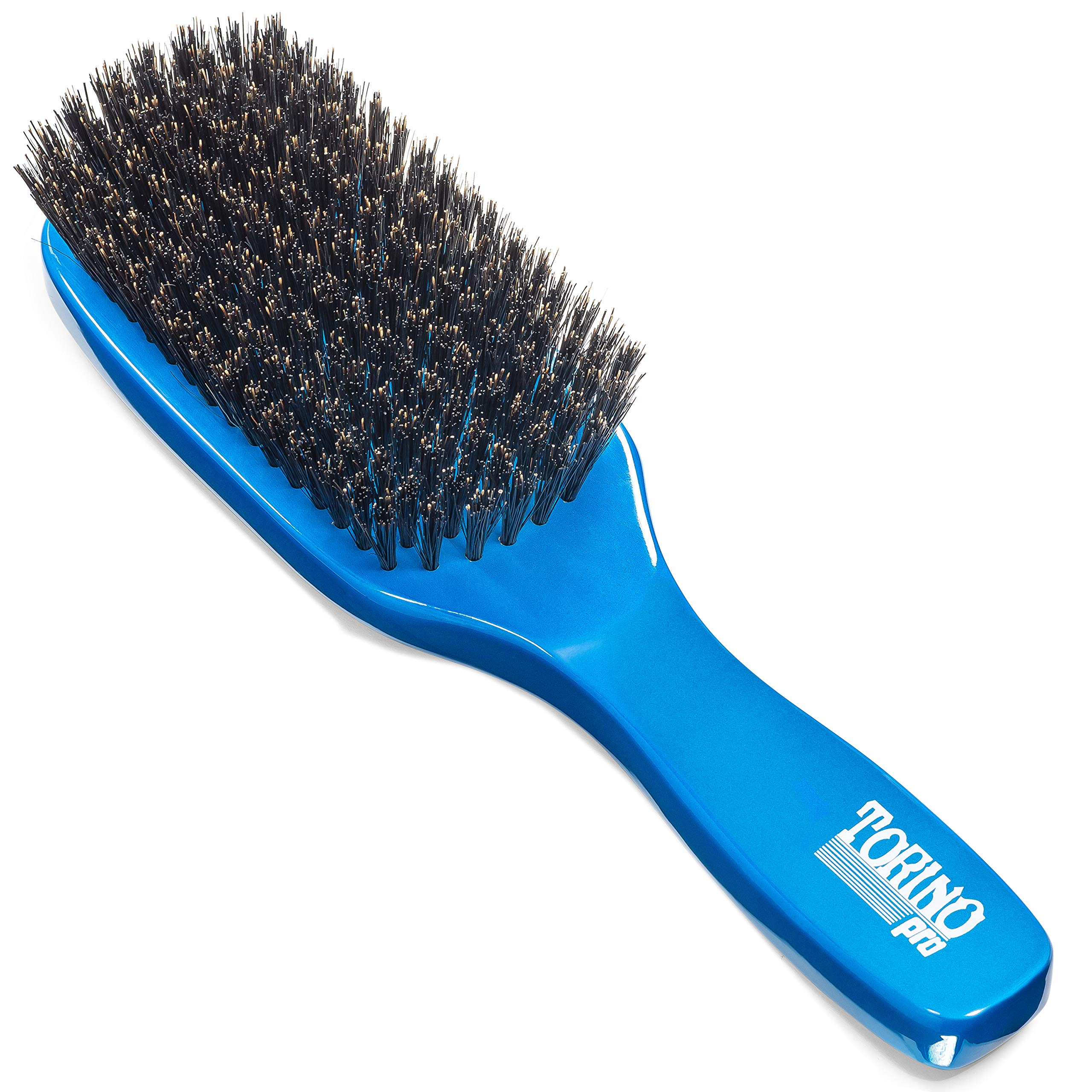 Torino Pro Medium Wave Brush By Brush King - #1850-8 Row Extra Long Bristles- Medium waves brush - Great pull - Great for connections - for 360 waves