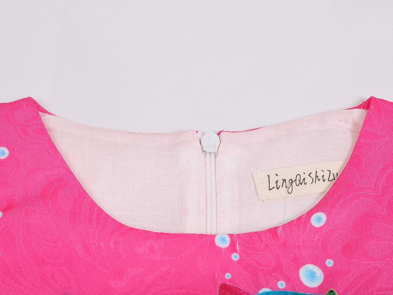 Girls Shark Print Sleeveless Summer Sundress Party Dresses