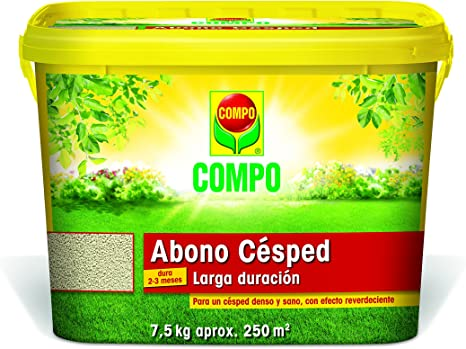 Compo Abono de césped, Efecto Larga duración 2-3 Meses, Granulado Fino, 7, 5 kg, 250 m², 7.5 kg: Amazon.es: Jardín