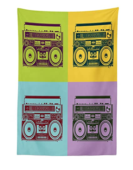 Lunarable 90s Tapestry, Tape Recorders History Old Fashion Celebration  Dancing Illustration, Fabric Wall Hanging Decor for Bedroom Living Room  Dorm,