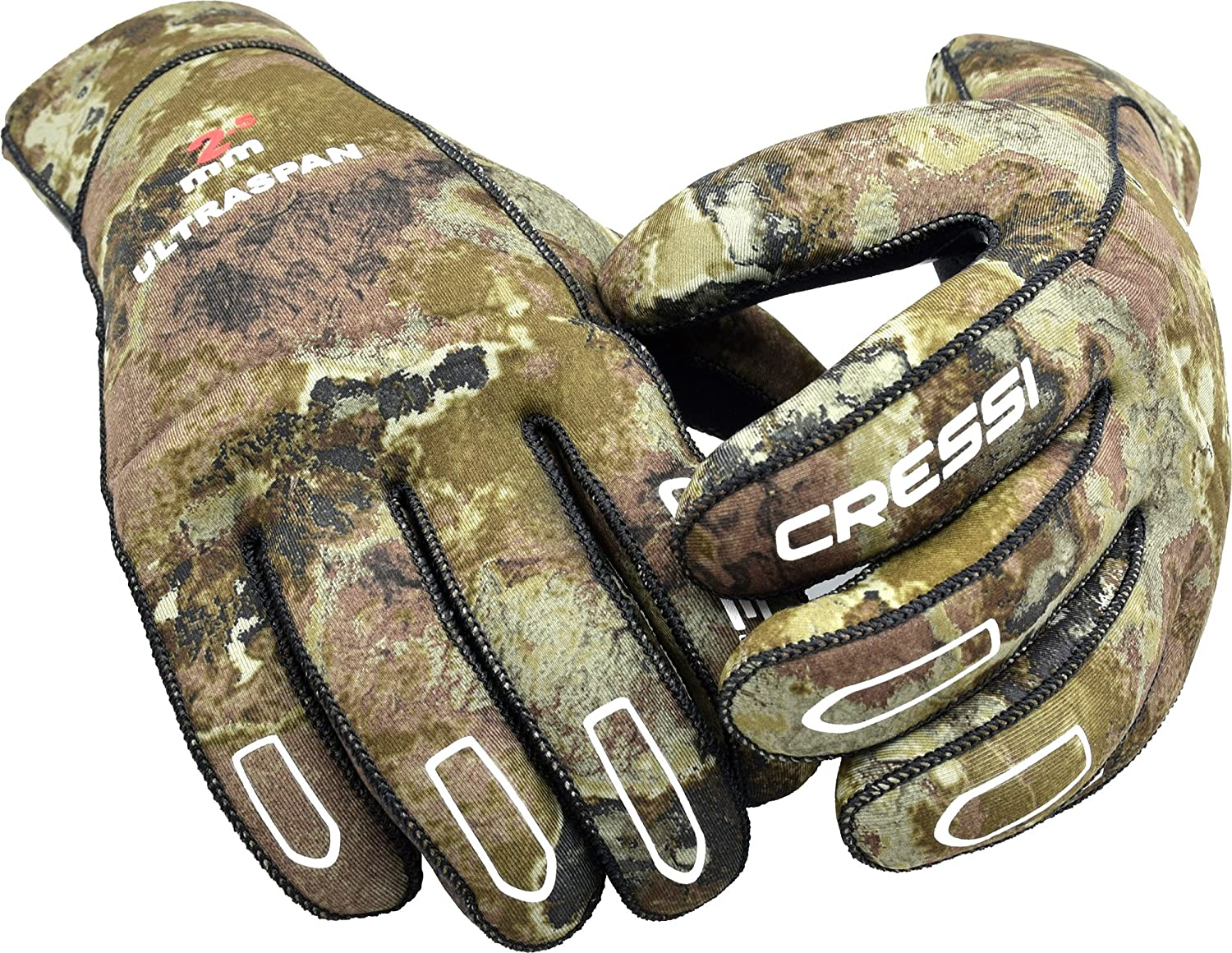 Cressi ULTRASPAN, 2.5mm Camo Diving Spearfishing Gloves - Cressi: Quality Since 1946