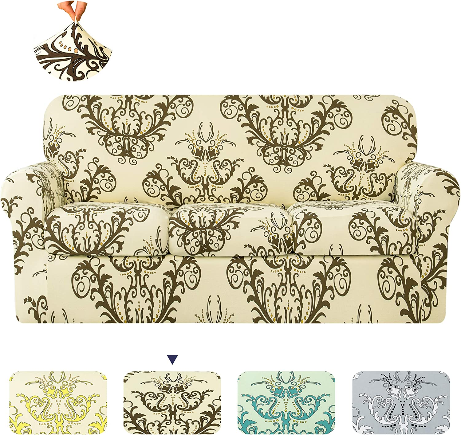 TIKAMI Stretch Printed Same day shipping Sofa Selling Slipcover Couch Covers for 4-Piece 3