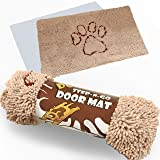 "XL ""Extra Thick"" Micro Fiber Pet and Dog Door Mat - Super Absorbent. Includes ""Water Proof Liner"" - Size 36"" X 26"" Exclusive by iPrimio - Khaki Color"