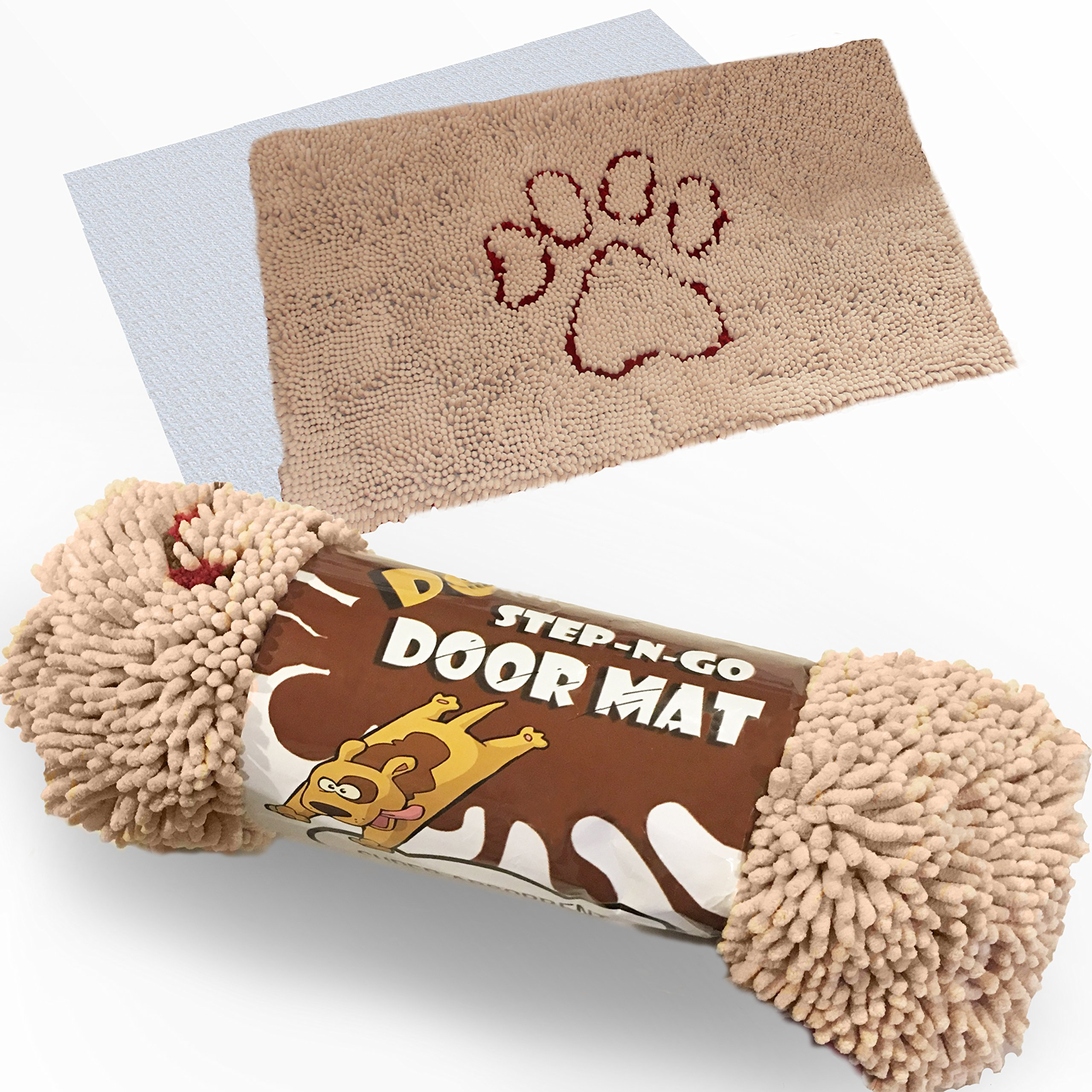 iPrimio XL Extra Thick Micro Fiber Pet Dog Door Mat - Super Absorbent. Includes Water Proof Liner - Size 36'' X 26'' Exclusive Khaki Color