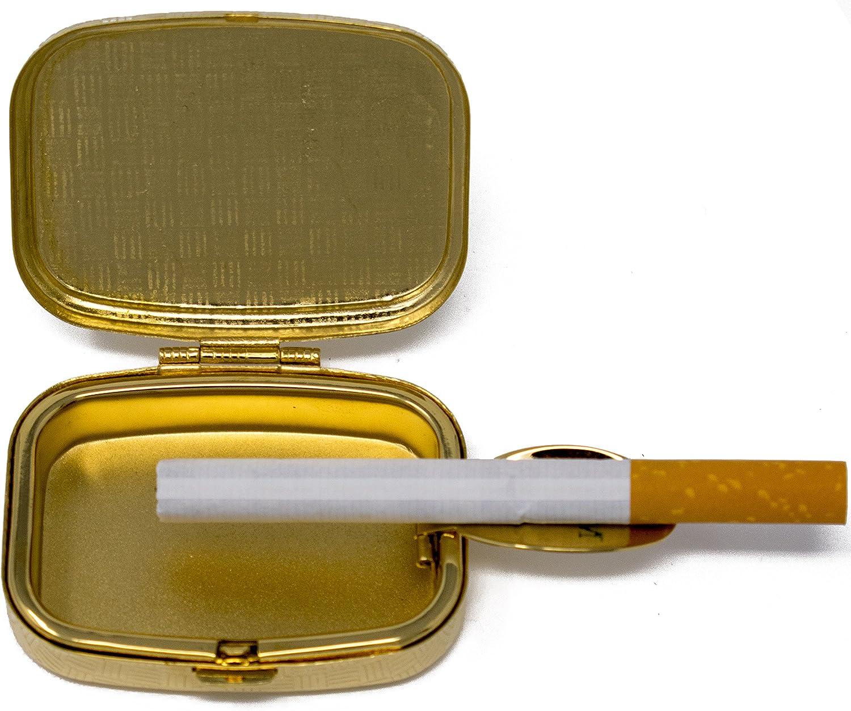 Stephanie Imports Portable Pocket Ashtray Silver Ribbed