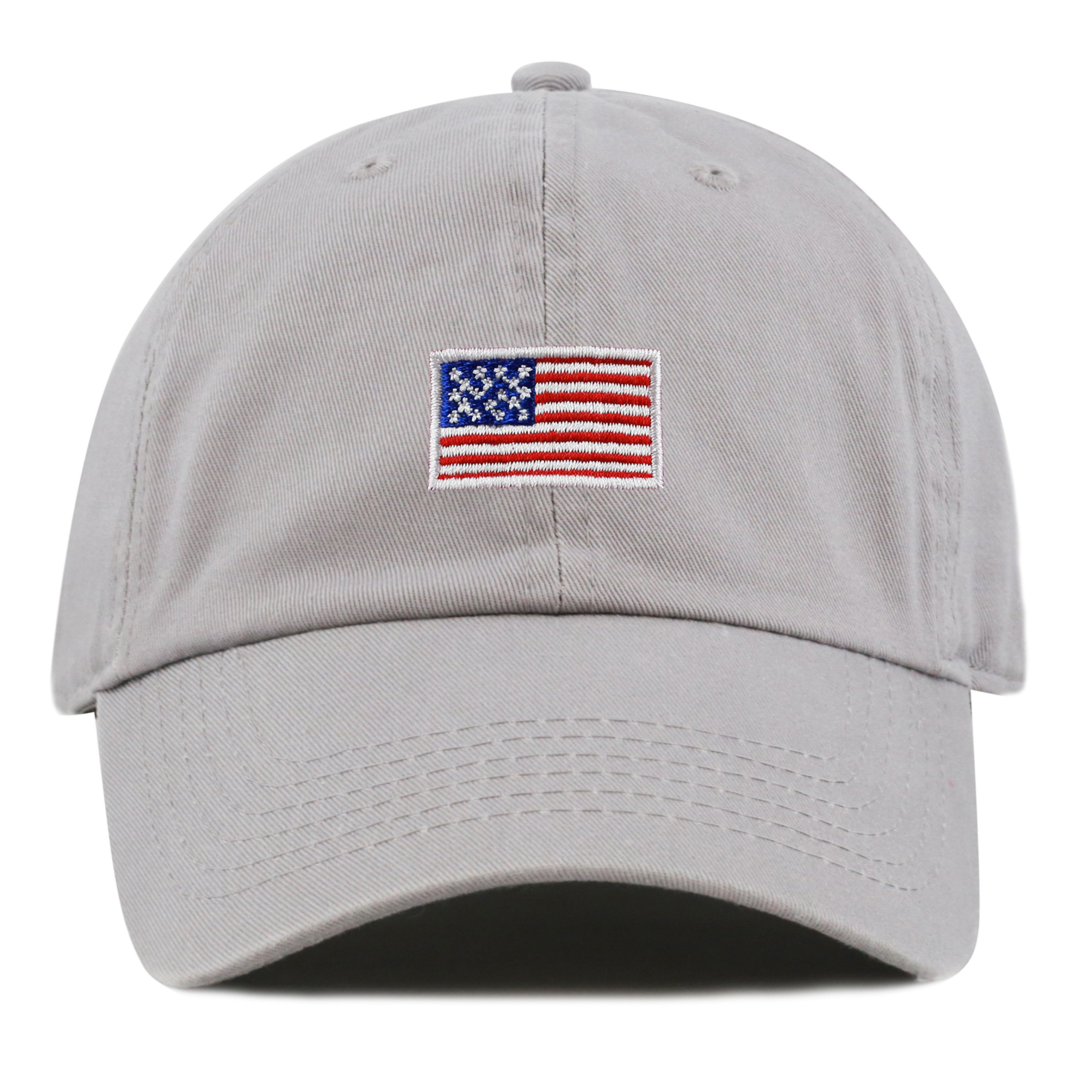 THE HAT DEPOT Kids American Flag Washed Low Profile Cotton Baseball Hat Cap (2-5yrs, Grey)
