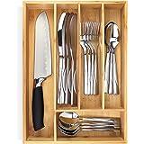 PRISTINE BAMBOO 10 inch silverware tray organizer– Flatware Utensil Cutlery Silverware Holder for Drawer – Small Extra-Deep W
