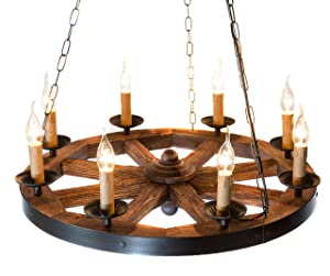 Metal Wagon Wood Wheel Chandelier AIVENGO.Home Decor Farmhouse Decor Vintage Antique Country Retro Rustic Style for House Restaurant Hallway Bar Hall Club Hotel