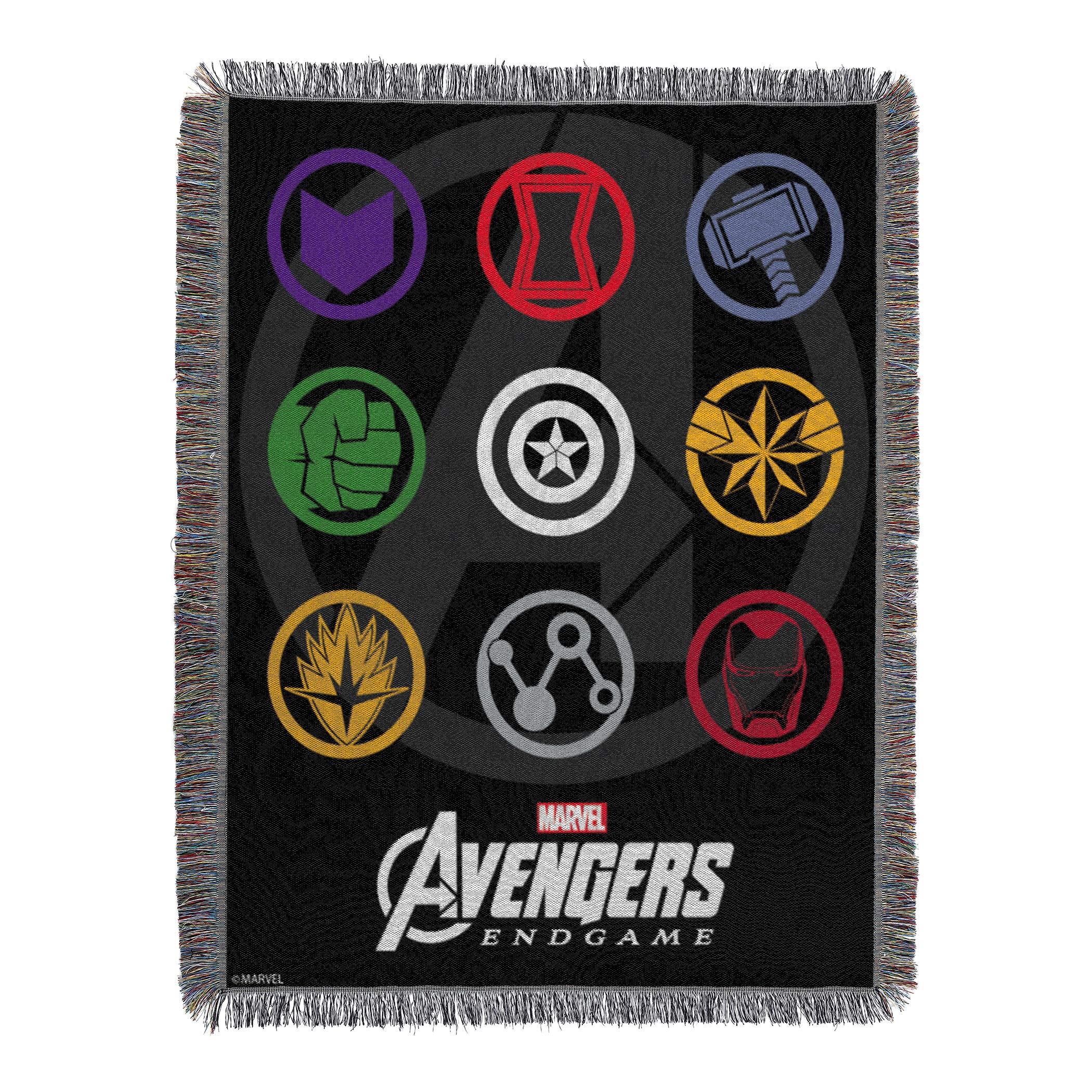 Marvel's Avengers Endgame, ''Symbols'' Woven Tapestry Throw Blanket, 48'' x 60'', Multi Color