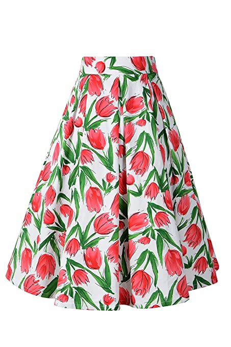 Retro Skirts: Vintage, Pencil, Circle, & Plus Sizes Chicanary Women Pleated 1950s Vintage A Line Skirts $19.60 AT vintagedancer.com