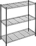 Whitmor Supreme 3 Tier Leveling Feet, 350 Pound Weight Capacity Per Shelf Adjustable Shelves, BLACK