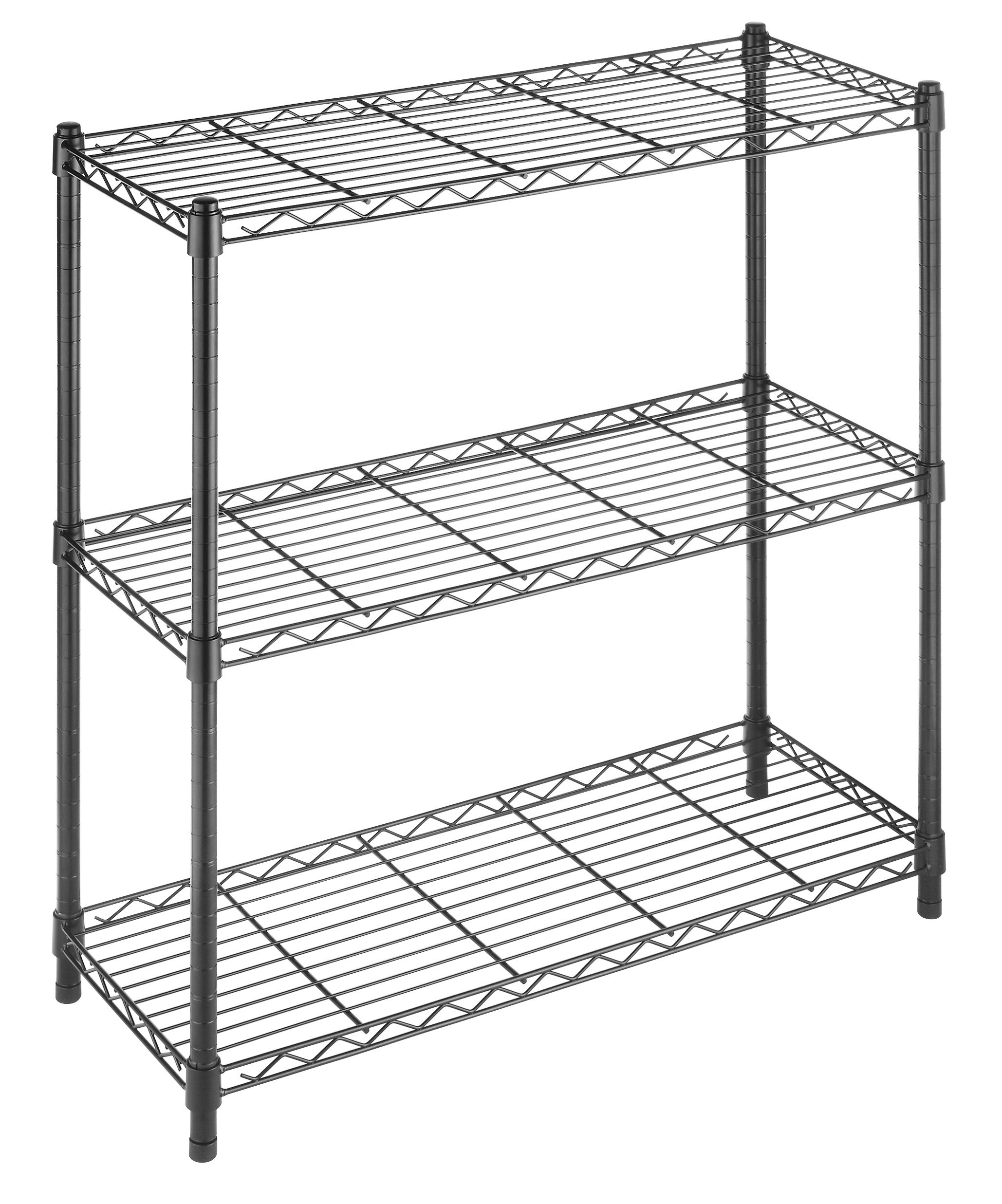 Whitmor Supreme 3 Tier Shelving with Adjustable Shelves and Leveling Feet - Black by Whitmor