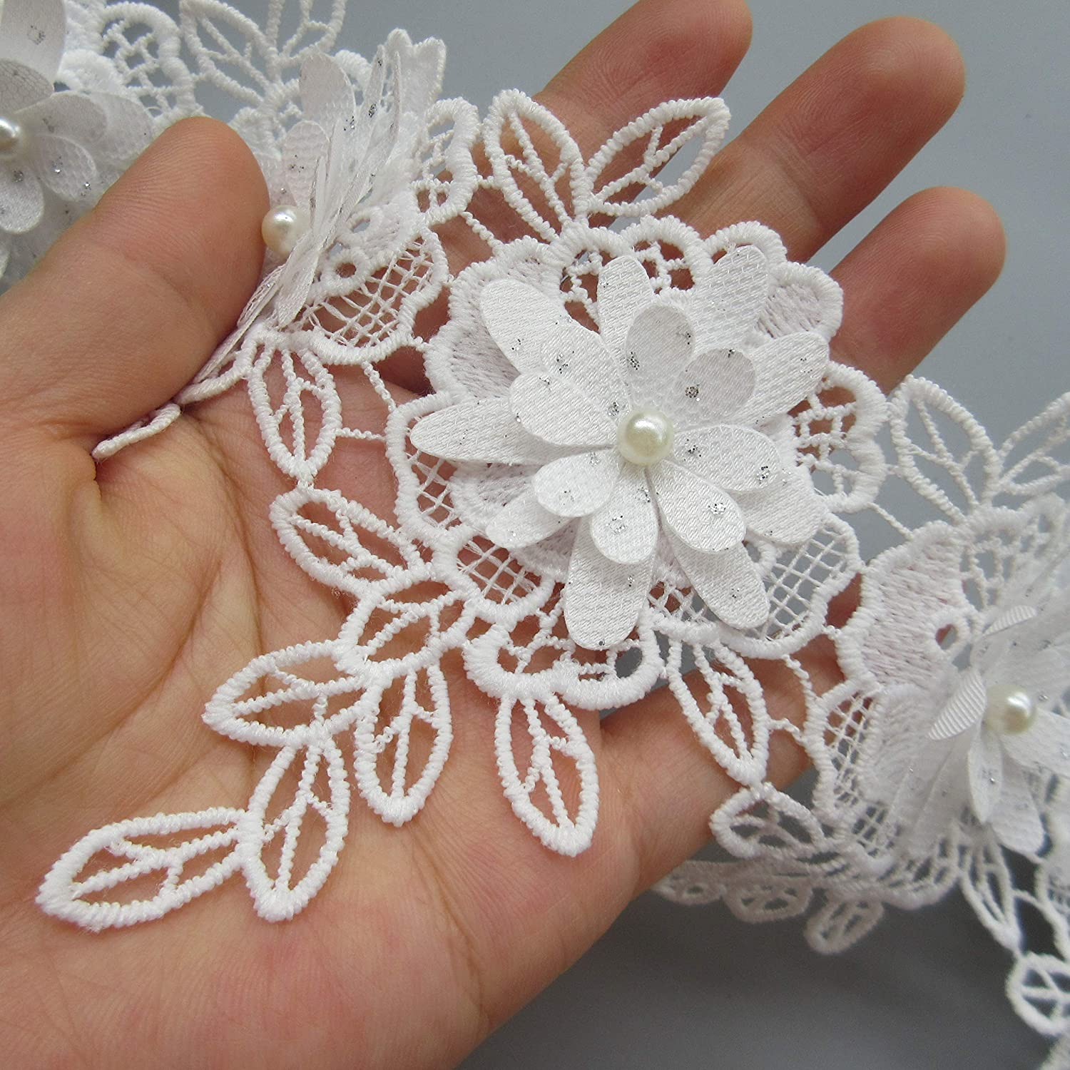 1 Yard 3D Layers Beaded Flower Lace Trim Ribbon Cotton Leaves Fringed Edge 10.2cm Width Vintage White Edging Trimming Fabric Embroidered Applique Sewing Craft Wedding Bridal Dress Clothes Headband DIY