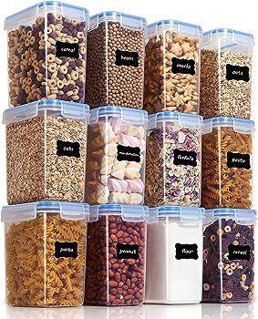 12-Pieces Vtopmart 1.5qt / 1.6L Plastic Airtight Food Storage Containers