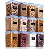 Vtopmart Airtight Food Storage Containers 12 Pieces 1.5qt / 1.6L- Plastic BPA Free Kitchen Pantry Storage Containers for Suga