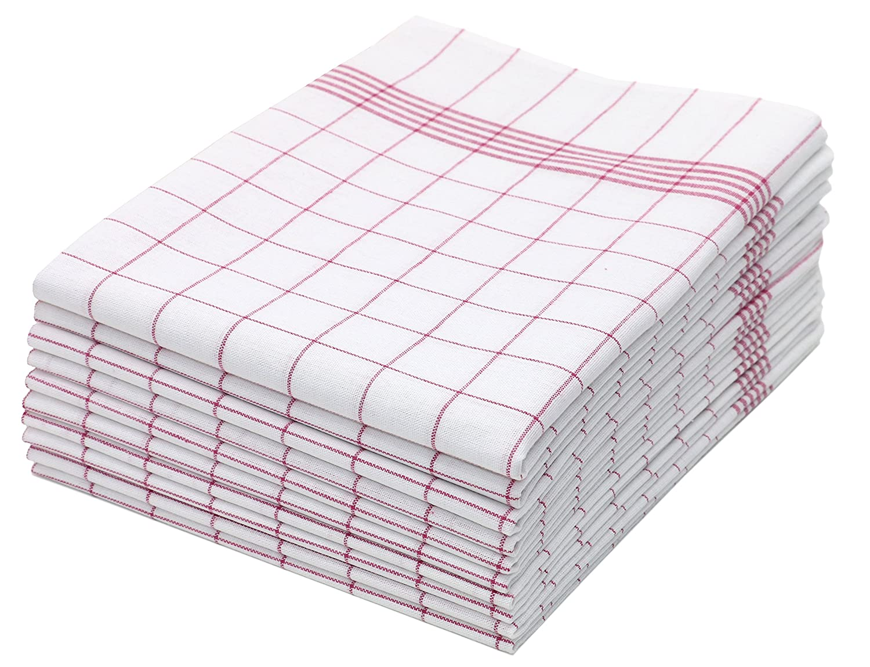 ZOLLNER 10 Trapos de Cocina algodón 100%, a Cuadros Rojos y Blancos, 50x70 cm: Amazon.es: Hogar