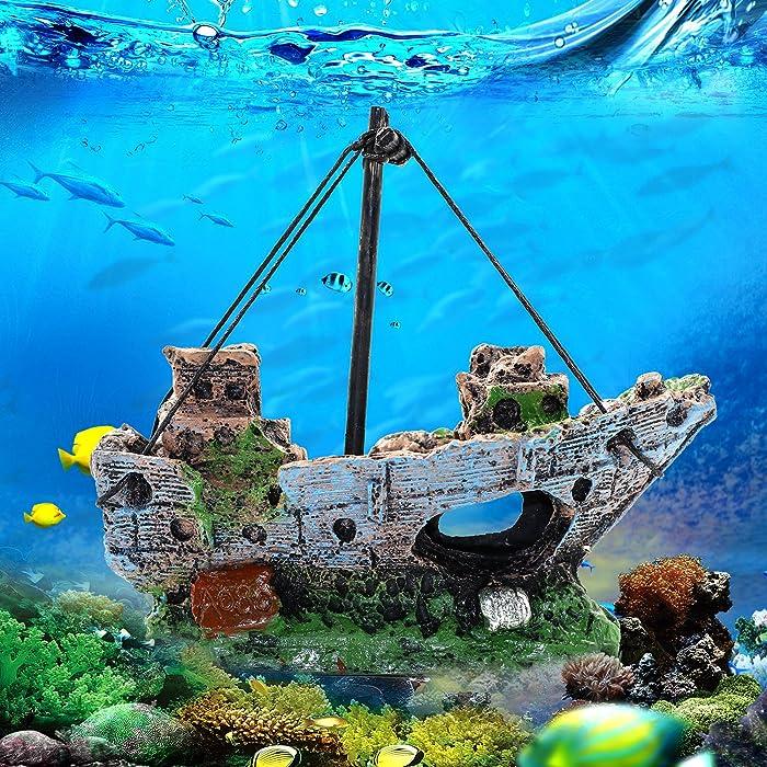 Sunyiny Aquarium Decor Small Air Bubble Stone Volcano Boat Oxygen Pump Resin Crafts for Aquarium Fish Tank Ornament Decoration