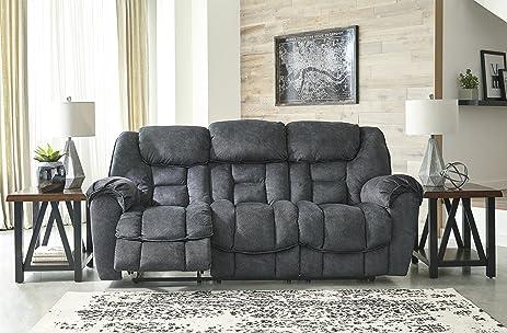 Capehorn Contemporary Microfiber Granite Color Reclining Sofa
