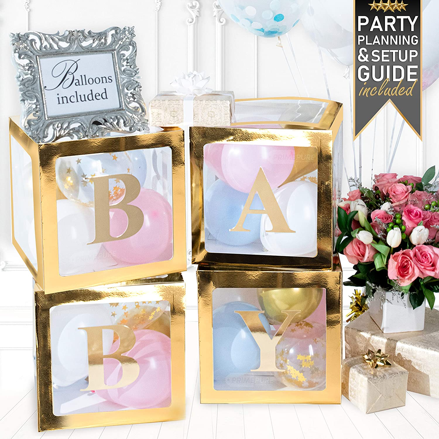 PRIMEPURE Premium Gold Baby Boxes - For Gender Reveal, Gender Reveal Party Supplies, Gender Reveal Decorations, Baby Shower, Baby Shower Decorations For Girl and Baby Shower Decorations For Boy