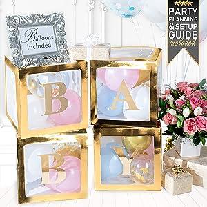 PRIMEPURE Premium Gold Baby Boxes - For Gender Reveal, Gender Reveal Party Supplies, Gender Reveal Decorations, Baby Shower, Baby Shower Decorations For Girl and Baby Shower Decorations For Boy