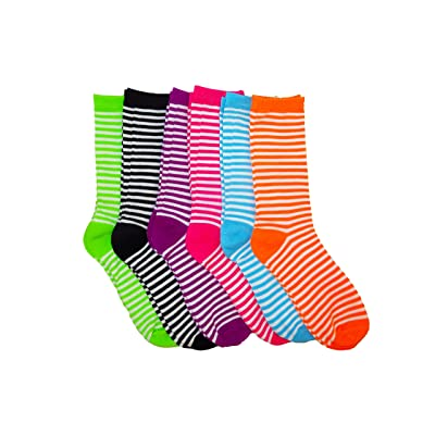 12 Pairs of Lightweight Womens Cotton Colorful Pattern Crew Socks