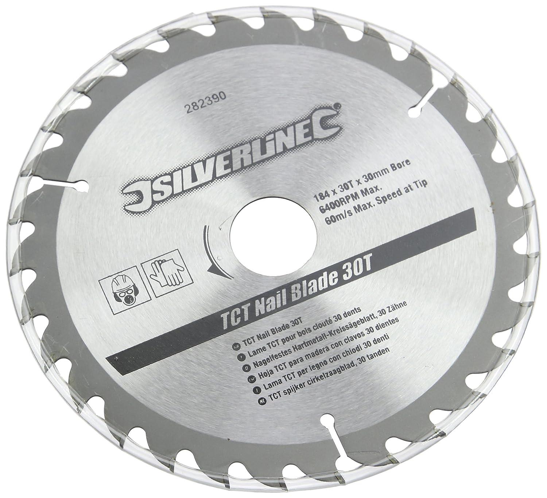 Silverline 633507 - Disco de TCT para madera con clavos, 30 dientes (190 x 16 mm - sin anillo) Toolstream