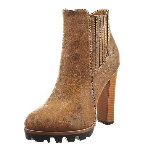 Sopily - Zapatillas de Moda Botines Chelsea Boots Zapatillas de Plataforma Tobillo Mujer Acabado Costura Pespunte