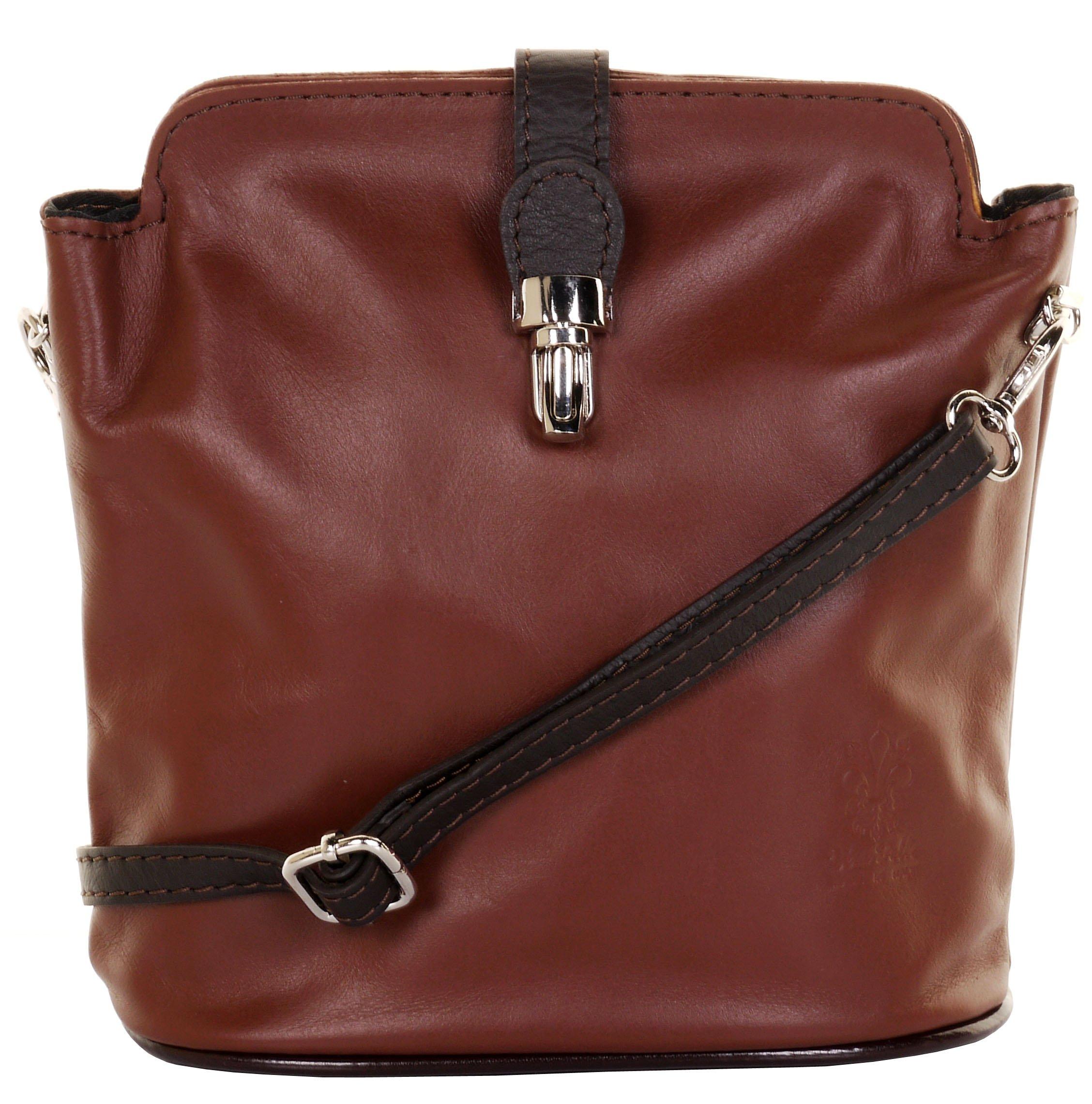 Primo Sacchi Italian Leather Hand Made Small Mid and Dark Brown Cross Body or Shoulder Bag Handbag